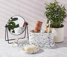 3 Piece Terrazzo Bathroom Organiser Set Double Toothbrush Tumbler Tray Soap Dish