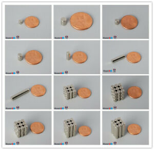 """Multiple Size 5mm 3/16""""dia Rare Earth Neodymium Cylinder Magnets"""