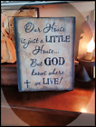 Prim`Distressed`Print Canvas OUR HOUSE IS LITTLE`GOD KNOWS WHERE WE LIVE 8x10