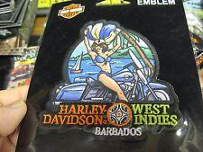 """Harley Davidson Emblem 4"""" Sew On Patch - West Indies - Barbados - Biker Girl"""