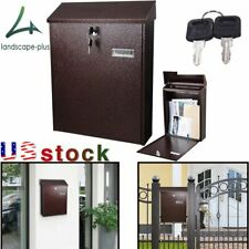 Steel Locking Mailbox Letterbox Wall Post Mount Newspaper Mail Box with 2 Keys