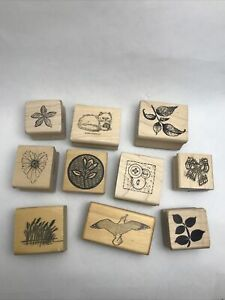 Lot Of 10 Small Rubber Stamps- Nature, Animal, Plant Theme