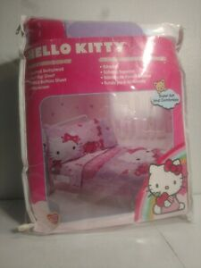 Hello Kitty 4pc Toddler Bed Set Quilted Bedspread Top/Fitted Sheets Pillowcase