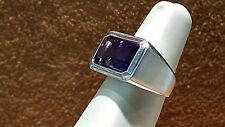14k.White gold Ring with Emerald cut Amethyst.  size 6.5.NEW LISTING.
