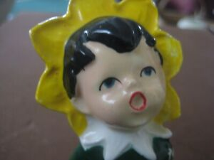 Pixie Elf Ceramic Figurine  vintage sunflower