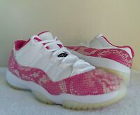 "wow AIR JORDAN 11 LOW RETRO ""PINK SNAKESKIN"" WOMEN Sz 9.5  WHITE Black NICE 2019"