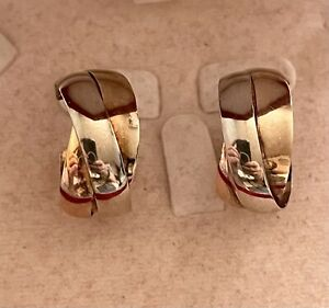 9ct Yellow/Rose/White Gold Russian Wedding Band  Earrings 6G no butterfly
