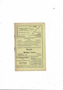 1951/52 Barnet v Whitby Town Amateur Cup Football Programme