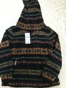 New Ralph Lauren fair isle fleece hoodie jacket sweatshirt top boy's size 6 $90