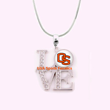 Ncaa Oregon State Beavers 925 Sterling Silver Team Love Necklace W/Rhinestones
