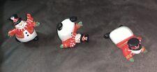 "3 Tumbling Glass Snowman Christmas Decorations 3"""
