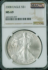 2008 SILVER EAGLE NGC MAC MS-69 PQ 2nd FINEST GRADE MAC SPOTLESS .