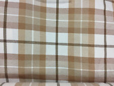 Decorative Pillow Cover Brown Beige Off White Plaid Fabric Pattern