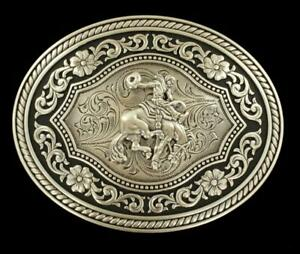 Nocona Western Mens Buckle Oval Saddle Bronc Antique Silver 37709