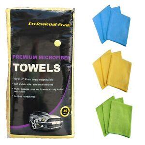 36 Microfiber Cloths 16 X 16 Terry Polishing, Detailing Towels, Plush Premium
