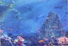 Scarce Leanin' Tree glitter card - gorgeous underwater city - Alixandra Mullins