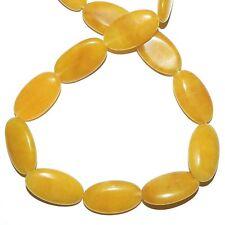 "NG2268f Yellow Agate 24mm Flat Puffed Oval Gemstone Beads 15"""