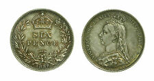 pcc1454_5) Great Britain Queen Victoria 1887 Six Pence TONED