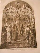 Alexandre II visitant les reliques de Saint Zosime Russia Gravure Print 1872