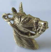9ct Gold Charm -  Vintage 9ct Yellow Gold Horse's Head Charm