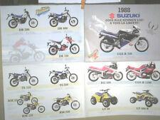 DEPLIANT SUZUKI 1988 :  RG 500/ GSXR 750/ 1100/ GSX 400/600/1100/ VS/ RM/ TRAIL