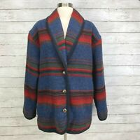 Woolrich VTG Multicolor Striped Wool Aztec Blanket Coat Jacket Womens L