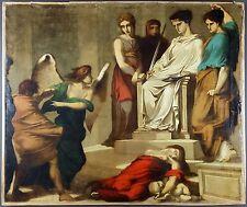"""Ancien Tableau """"Le Jugement"""" Peinture Huile Antique Oil Painting"""