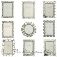 Vintage Ornate silver photo frames beads & crystals 4x4, 6x4, 7x5 inch pictures.