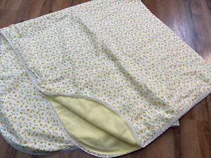 "Vintage Handmade White & Yellow Floral Baby Blanket 44x43"" Lace Trim Boho Crib"