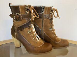 Timberland Earthkeeper Nevali bootie 6.5 tan/brown/white leather wood heel