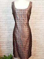 Victor Costa cocktail dress size 12 purple black and silver metallic damask NWT