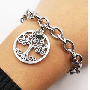 Bracciale da donna con ciondolo albero della vita acciaio argento braccialetto a