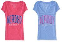AERO Aeropostale AERO 87 Logo V-neck Graphic T-Shirt Top Tee XS,S,M,L,XL,2XL NEW