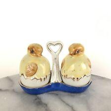 Vintage Porcelain Chicks in Eggs Salt & Pepper Shakers in Holder Occupied Japan