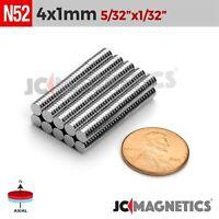"""50 100 1000pc 4mm x 1mm 5/32""""x1/32"""" N52 Rare Earth Neodymium Small Magnet Disc"""