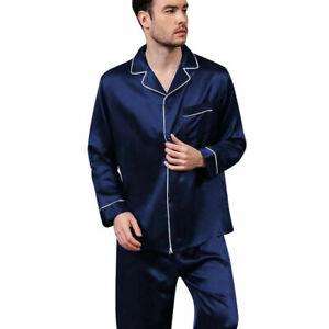 Mens Silk Satin Pajamas Set pyjamas for men Loose Sleepwear PJ Set Autumn Gift