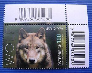"""EUROPA Marke 2021 """"Wolf"""" - Österreich SM Mai 2021** mit Eck-Randstück"""