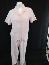 STUDIO WORKS WOMENS PINK COTTON SUMMER TOP & MATCHING PANTS SIZE M