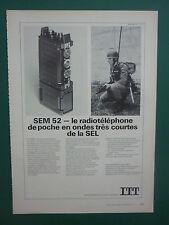 5/1974 PUB ITT SEL RADIO TELEPHONE SEM 52 ONDES TRES COURTES ARMEE BUNDESWEHR AD