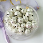 3mm 4mm 6mm 8mm 10mm Silver Plated Copper Round Stardust Spacer Beads Charms