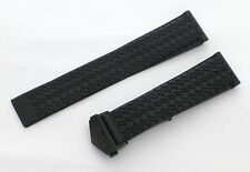 22mm Carrera Monaco Rubber Band Strap w/ PVD Black Deployant Clasp for TAG Heuer
