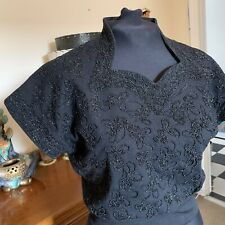 1950s Vintage black Beaded Jumper Sweater