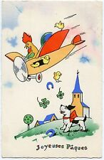 POUSSINS. CHICKS. COQ. CHIEN. ROOSTER. DOG .AVION . PLANE PAQUES. HAPPY EASTER