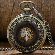 Retro Wood Circles Steampunk Mechanical Hand Wind Pocket Watch Necklace Gifts