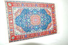 "Miniature Dollhouse Silk Floral Oriental Rug Blues 12"" x 8"" 1:12"
