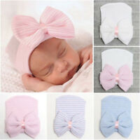 Newborn Baby Infant Girls Boys Toddler Comfy Bowknot Hospital Cap Beanie Hat GS