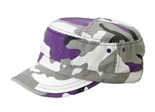 Enzyme Washed Camouflage Military Castro Cap-lilac camo purple