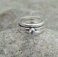 Crystal Quartz Solid 925 Sterling Silver Spinner Ring Statement Ring Size M440