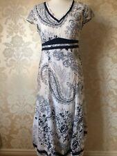 PER UNA BLUE WHITE COTTON DRESS SHORT SLEEVES SIZE 12 REGULAR BNWT NEW