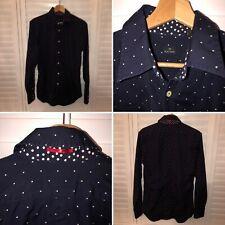 🌟Paul Smith Size Navy Polka Dot Long Sleeve Cotton Shirt Mod Dandy